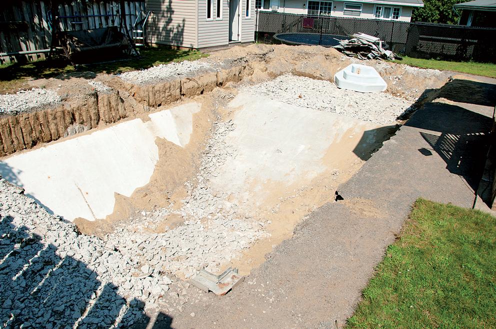 stavební přípravy pro bazén